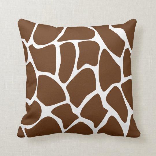 Giraffe Print Pattern in Dark Brown. Throw Pillow
