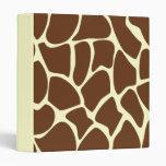 Giraffe Print Pattern in Dark Brown. Vinyl Binder
