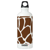 Giraffe Print Pattern in Dark Brown. Water Bottle