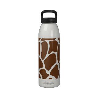 Giraffe Print Pattern in Dark Brown. Reusable Water Bottles