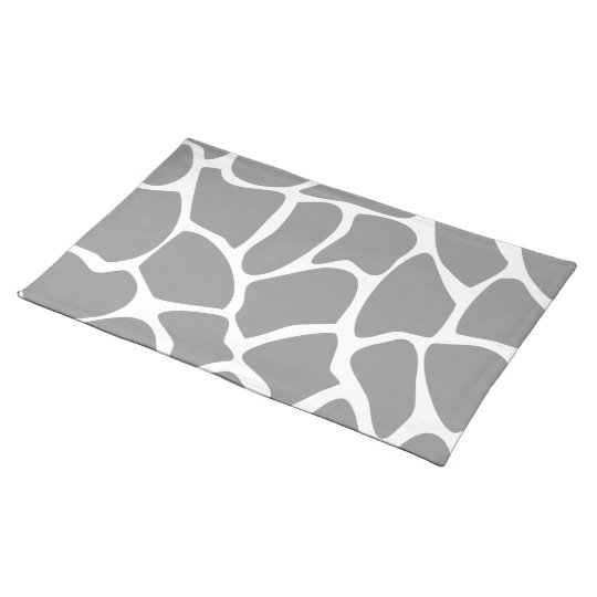 Giraffe Print Pattern in Gray. Cloth Placemat