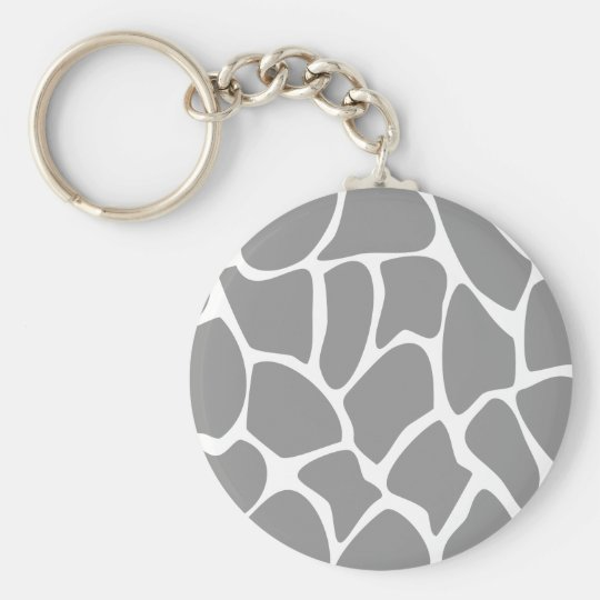 Giraffe Print Pattern in Gray. Keychain