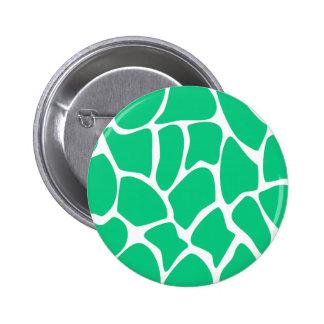 Giraffe Print Pattern in Jade Green. 2 Inch Round Button