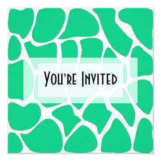 Giraffe Print Pattern in Jade Green. 5.25x5.25 Square Paper Invitation Card