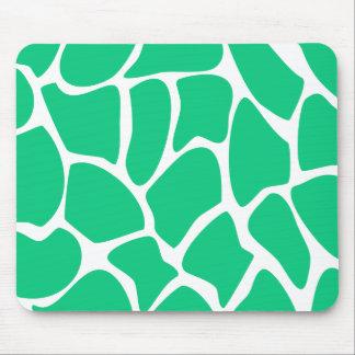 Giraffe Print Pattern in Jade Green. Mouse Pad