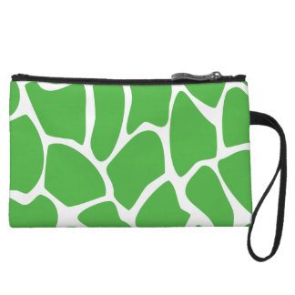 Giraffe Print Pattern in Jungle Green. Wristlet Purse