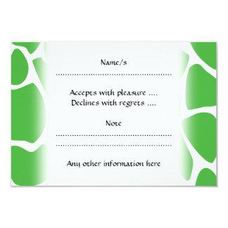 Giraffe Print Pattern in Jungle Green. 3.5x5 Paper Invitation Card