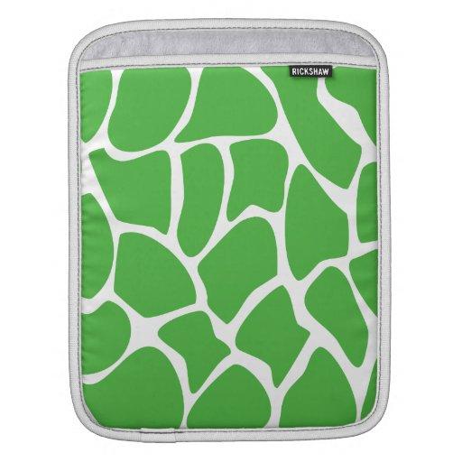 Giraffe Print Pattern in Jungle Green. Sleeve For iPads