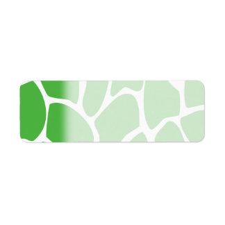 Giraffe Print Pattern in Jungle Green. Label