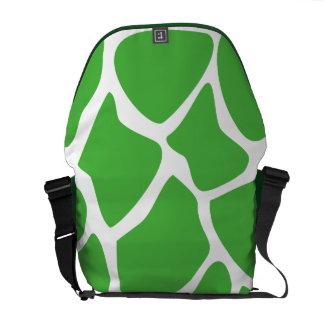 Giraffe Print Pattern in Jungle Green. Messenger Bag