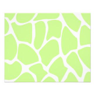 "Giraffe Print Pattern in Light Lime Green. 4.5"" X 5.6"" Flyer"