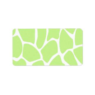 Giraffe Print Pattern in Light Lime Green. Address Label