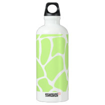 Giraffe Print Pattern in Light Lime Green. Aluminum Water Bottle