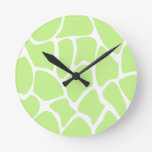 Giraffe Print Pattern in Light Lime Green. Clock