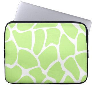 Giraffe Print Pattern in Light Lime Green. Computer Sleeve