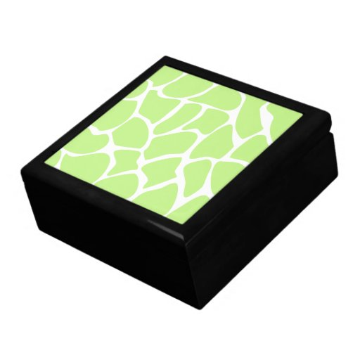 Giraffe Print Pattern in Light Lime Green. Jewelry Boxes
