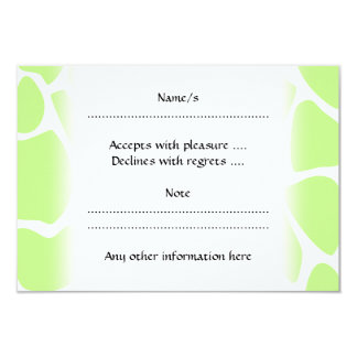 Giraffe Print Pattern in Light Lime Green. 3.5x5 Paper Invitation Card