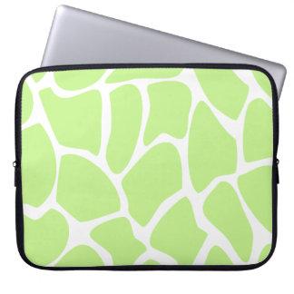 Giraffe Print Pattern in Light Lime Green. Laptop Sleeve