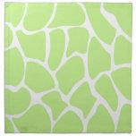 Giraffe Print Pattern in Light Lime Green. Printed Napkin