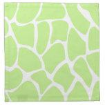 Giraffe Print Pattern in Light Lime Green. Napkins