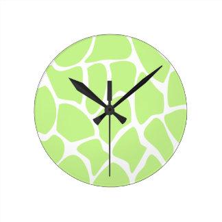 Giraffe Print Pattern in Light Lime Green. Round Clock