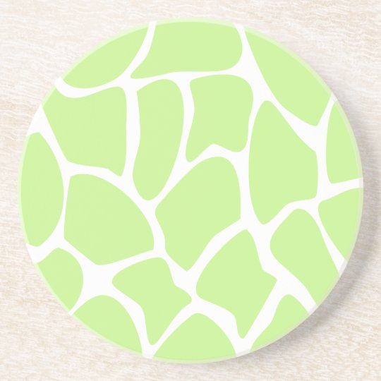 Giraffe Print Pattern in Light Lime Green. Sandstone Coaster