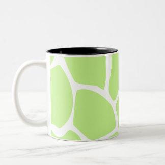 Giraffe Print Pattern in Light Lime Green. Two-Tone Coffee Mug