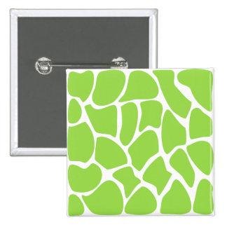 Giraffe Print Pattern in Lime Green. 2 Inch Square Button