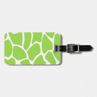 Giraffe Print Pattern in Lime Green. Bag Tag