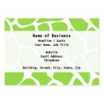 Giraffe Print Pattern in Lime Green. Business Card Templates