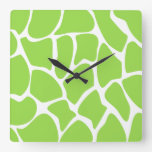 Giraffe Print Pattern in Lime Green. Square Wall Clocks