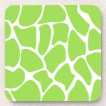 Giraffe Print Pattern in Lime Green. Coasters