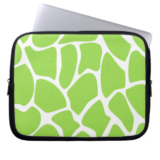 Giraffe Print Pattern in Lime Green. Computer Sleeve