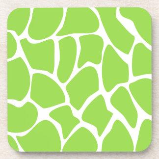 Giraffe Print Pattern in Lime Green. Beverage Coaster