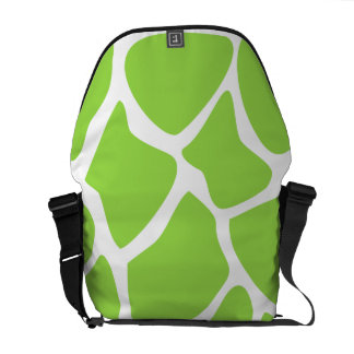 Giraffe Print Pattern in Lime Green. Courier Bag