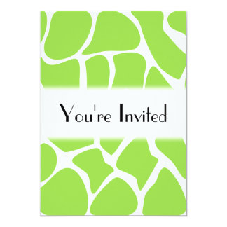 Giraffe Print Pattern in Lime Green. 5x7 Paper Invitation Card