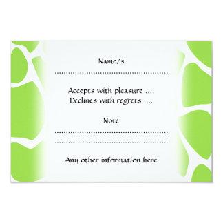 Giraffe Print Pattern in Lime Green. 3.5x5 Paper Invitation Card