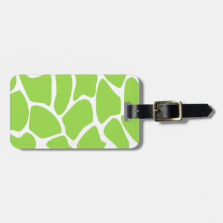 Giraffe Print Pattern in Lime Green. Luggage Tag