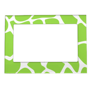 Giraffe Print Pattern in Lime Green. Picture Frame Magnets