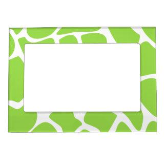 Giraffe Print Pattern in Lime Green. Magnetic Frame