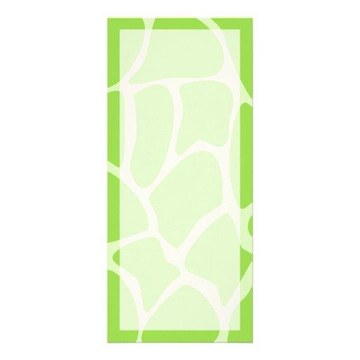 Giraffe Print Pattern in Lime Green. Rack Cards