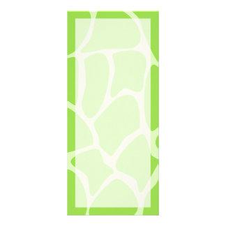 Giraffe Print Pattern in Lime Green. Full Color Rack Card