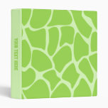 Giraffe Print Pattern in Lime Green. Vinyl Binders