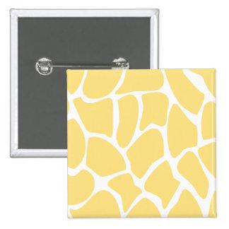 Giraffe Print Pattern in Yellow. 2 Inch Square Button