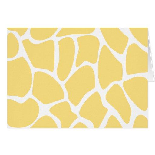 Giraffe Print Pattern in Yellow. Cards