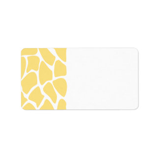 Giraffe Print Pattern in Yellow. Label