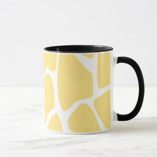 Giraffe Print Pattern in Yellow. Mug