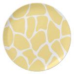 Giraffe Print Pattern in Yellow. Plates