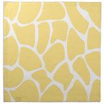 Giraffe Print Pattern in Yellow. Printed Napkins