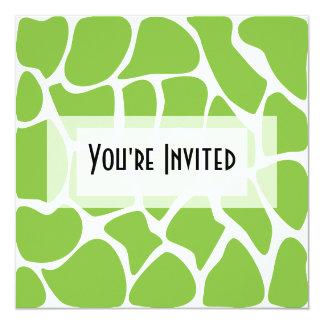 Giraffe Print Pattern. Safari Green. 5.25x5.25 Square Paper Invitation Card